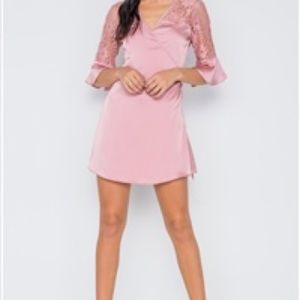 Dusty Pink Satin Mini Dress